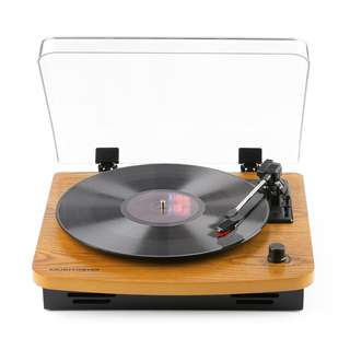Musitrend LP 3-Speed Turntable with Built-in Stereo Speakers, Vintage Style Record Player Support Vinyl-To-MP3 Recording, RCA Output, Natural Wood