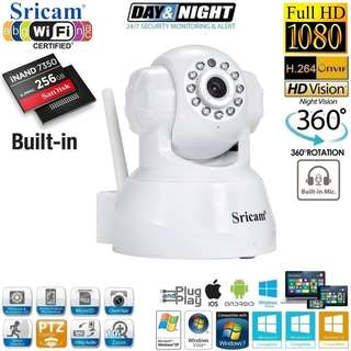 Brand New! 256GB Sricam Full HD 1080P Wi-Fi IP PTZ CCTV Camera with 2-Way Audio - $55