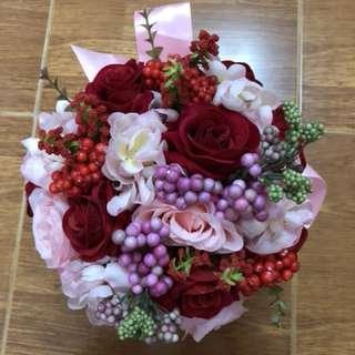 紅色花球 褂花球
