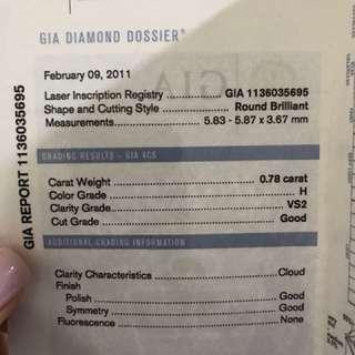 0.78 卡白金鑽石戒指(有GIA證書)