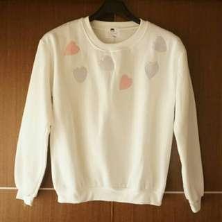 全新白色愛心內刷毛長袖T恤/M~L號