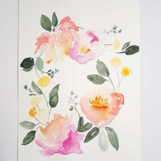 Wall Decor - Hand Painted Floral (Original)