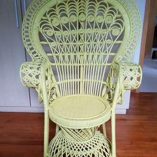 Boho peacock rattan chair tween size