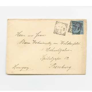 Rare Great Britain 1888 Queen Victoria 2½d Stamp On Envelope Cover To Hungary Square London Cancel Postmark UK Postal Philatelic