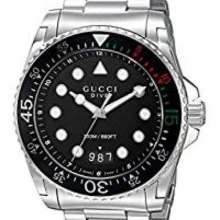 Gucci 男裝手錶 dive watch 現貨*