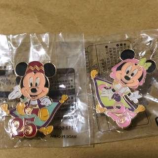 日本 迪士尼 徽章 TOKYO DISNEY PIN GAME PIN MICKY MINNIE 25週年
