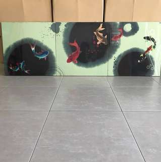 Acrylic Painting of 9 Carps (set of 3 pieces)