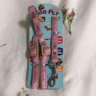 全新-寵物粉紅胸背帶