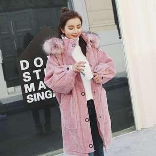 韓國粉色加厚燈芯絨中褸