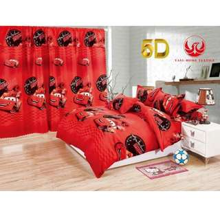 KOREAN COTTON 5in1 BEDSHEET SET with CURTAIN ..