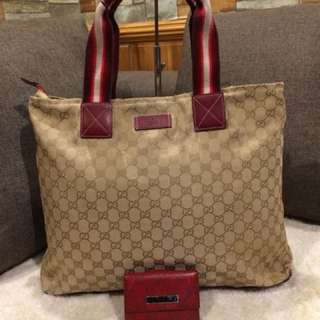 Authentic Gucci Tote With Gucci wallet