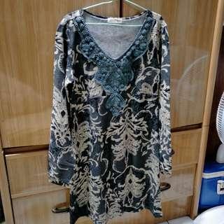 🚚 Jojoba深綠花紋復古長袖洋裝