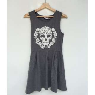 Skater dress, sleeveless, allsize, skull prints, abu-abu