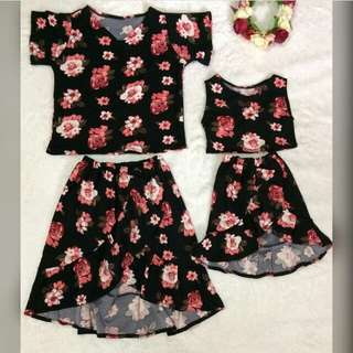 Matchy floral top & ruffled overlap skirt