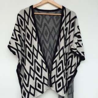 Women's kimono, kimono wanita, cardigan, size M, monokrom