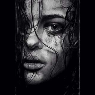 Realistic charcoal painting