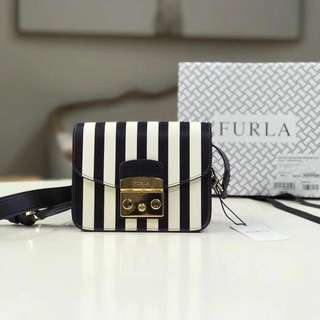 🔥New In🔥Furla Metropolis Black & White Stripes
