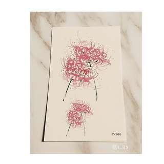 手繪粉色彼岸花防水持久小清新紋身貼
