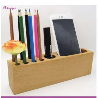 Wooden Organiser for Phone and Pen Remote
