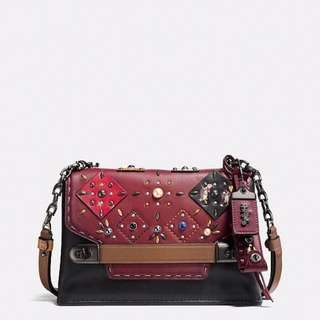Coach Swagger Chain Crossbody with Patchwork Prairie Rivets