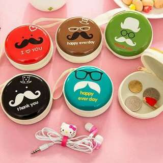 Hard Case Cartoon Coin Pouch / Earpiece Storage