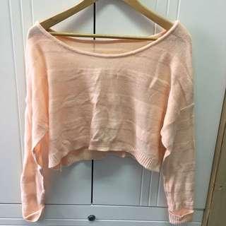 淡粉橙暗間條短身針織上衣冷衫 knitwear