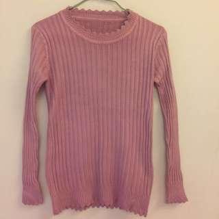 全新 莓粉色波浪領針織上衣