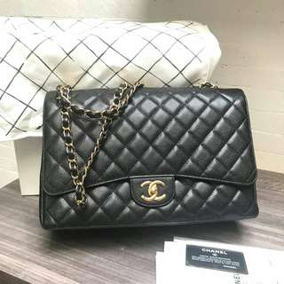 Chanel maxi black cav GHW #17 complete set