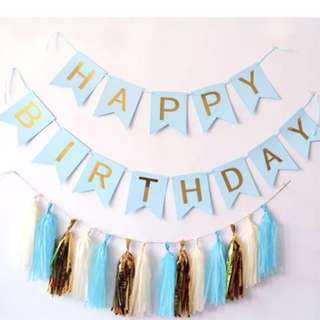 Birthday party Bunting garland in pink, blue and black