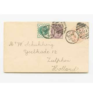 Rare Great Britain 1902 Queen Victoria Multiple One Penny Stamps On Envelope Cover To Holland UK Postal Philatelic