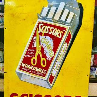 Vintage Scissors Enamel Sign