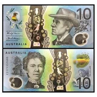 * UNC * 2017 AUSTRALIA 10 DOLLAR P63