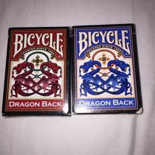 Bicycle 'Dragon Back' Blue & Red Playing Cards