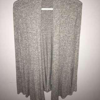 Fuzzy Grey Drape Cardigan