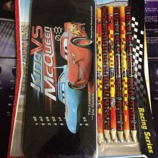 New Disney Cars Tin Pencil Case And 6 Pack Coloured Pencils