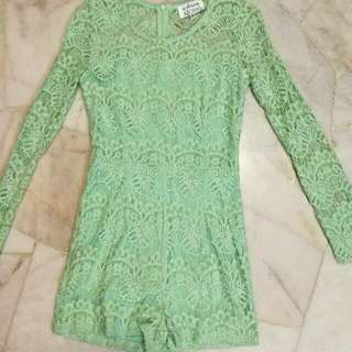 Clearance! Green Lace Long Sleeved Romper
