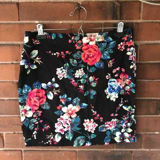 Floral Print Cotton Skirt