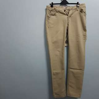 Straight Slim Denim Pants- Light Khaki M