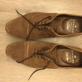 Carmina Suede Captoe Shoes UK 8