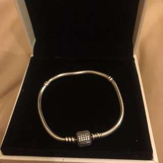 AUTHENTIC PANDORA BRACELET WITH CLEAR CUBIC ZIRCONIA