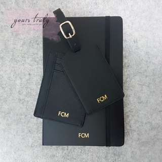 Personalised Name/Initial Saffiano Leather Accessories [Customised]