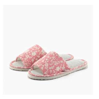 日式布底碎花室內拖-粉色