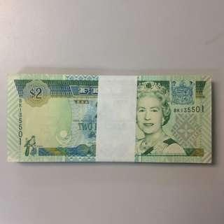 Fixed Price - Fiji Queen Elizabeth Portrait $2 Stack of 100 Runs UNC with Radar Numbers
