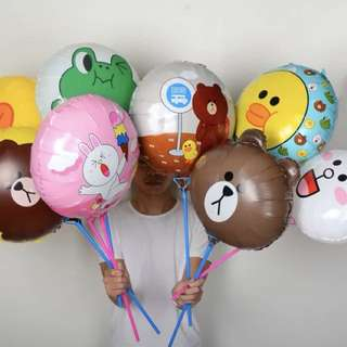 Happy birthday foil balloon line brown bunny 1pcs