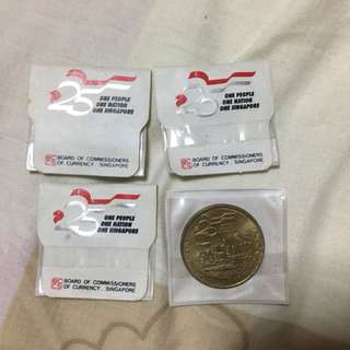 Fixed Price - 1990 Singapore 25 Years of Independence $5 Commemorative Coins 4 pcs