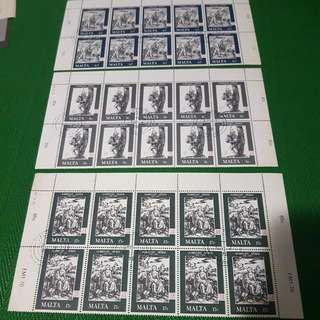 1978 7 March Malta The 450th Anniversary Of The Death Of Albrecht Durer Full Set Of 10 Stamosheet Sheetlet Mint