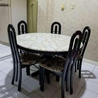 Meja Makan Batu (Set)
