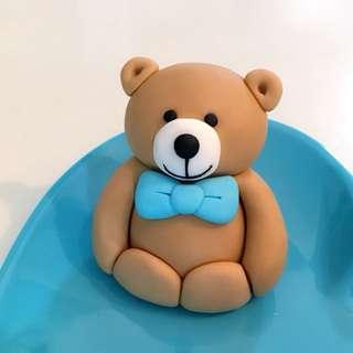 Customized teddy bear cake or cupcake fondant topper