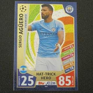 最新 17/18 Match Attax Champions League Hat Trick Hero - Sergio AGUERO #Manchester City 曼城