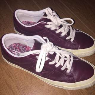 Authentic Converse One Star Leather and Tapestry in Dark Sangria